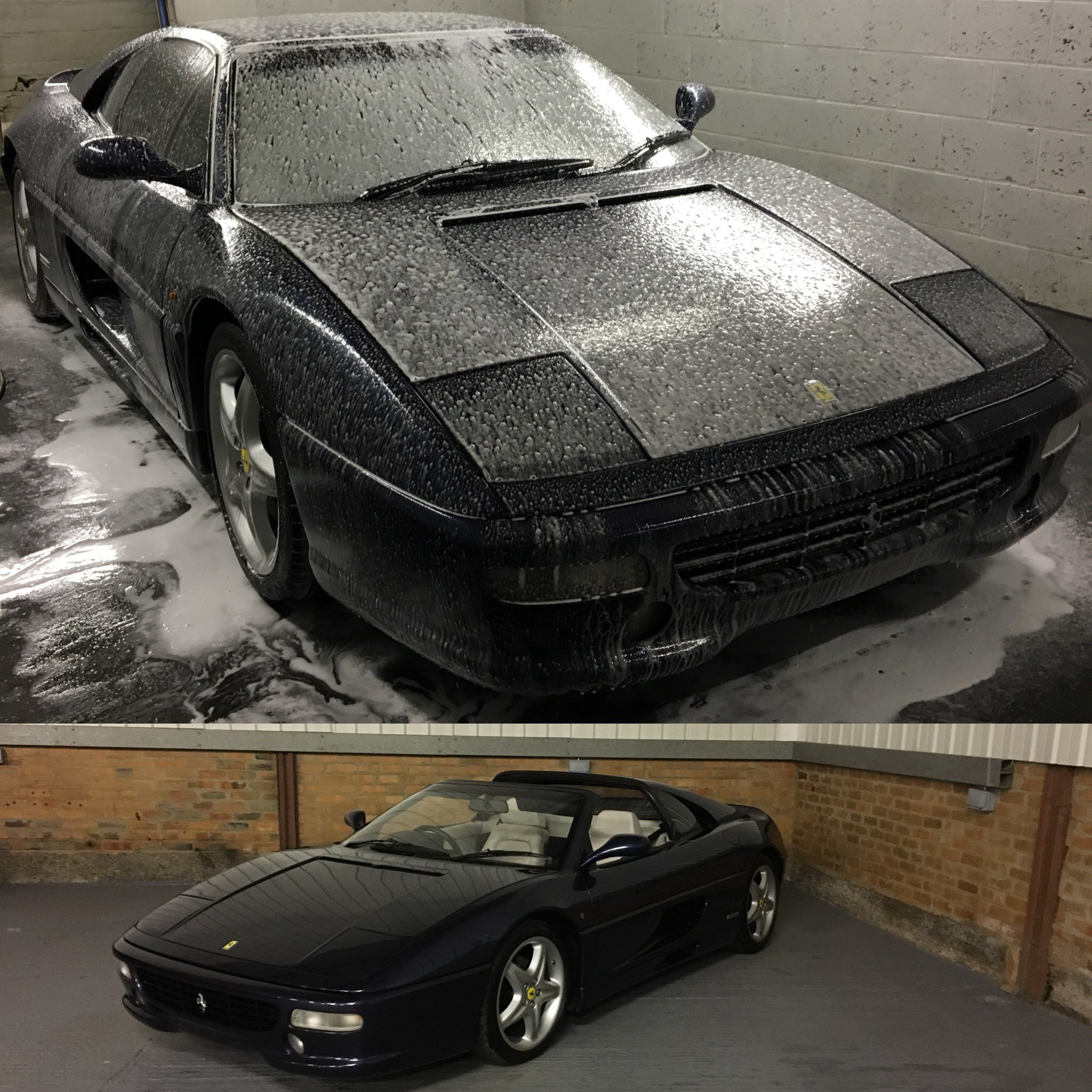 Snow foam Ferrari by TMS Car Storage